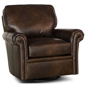 Traditional Swivel Chair with Rolled Arms