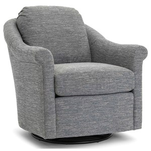 Casual Upholstered Swivel Chair with Sock Rolled Arms