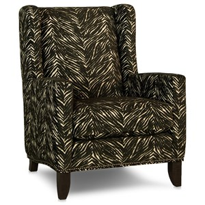 Traditional Wing Back Chair with Track Arms