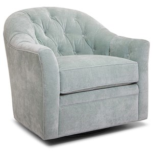 Transitional Swivel Glider Chair with Button Tufting