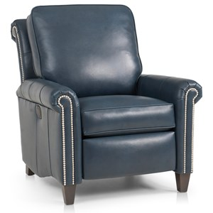 Traditional Pressback Recliner with Scroll Back Design and High Tapered Legs
