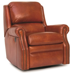 Traditional Motorized Swivel Glider Reclining Chair with Nailhead Trim