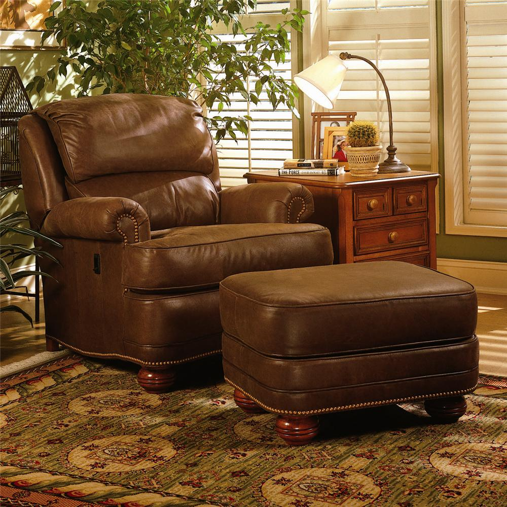 988 Upholstered Tilt Back Recliner & Ottoman by Smith Brothers at Saugerties Furniture Mart