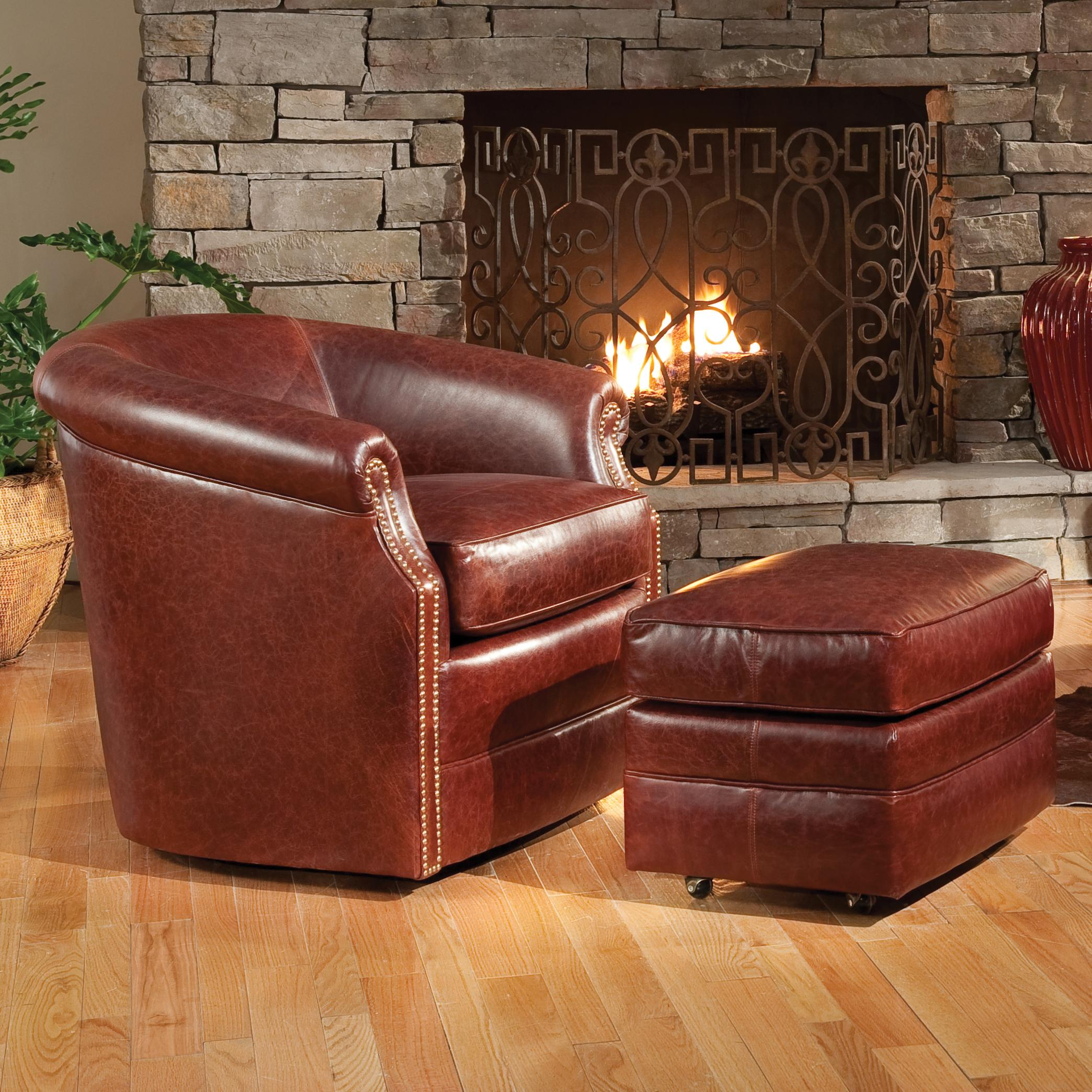 Accent Chairs and Ottomans SB Barrel Swivel Chair and Ottoman by Smith Brothers at Mueller Furniture