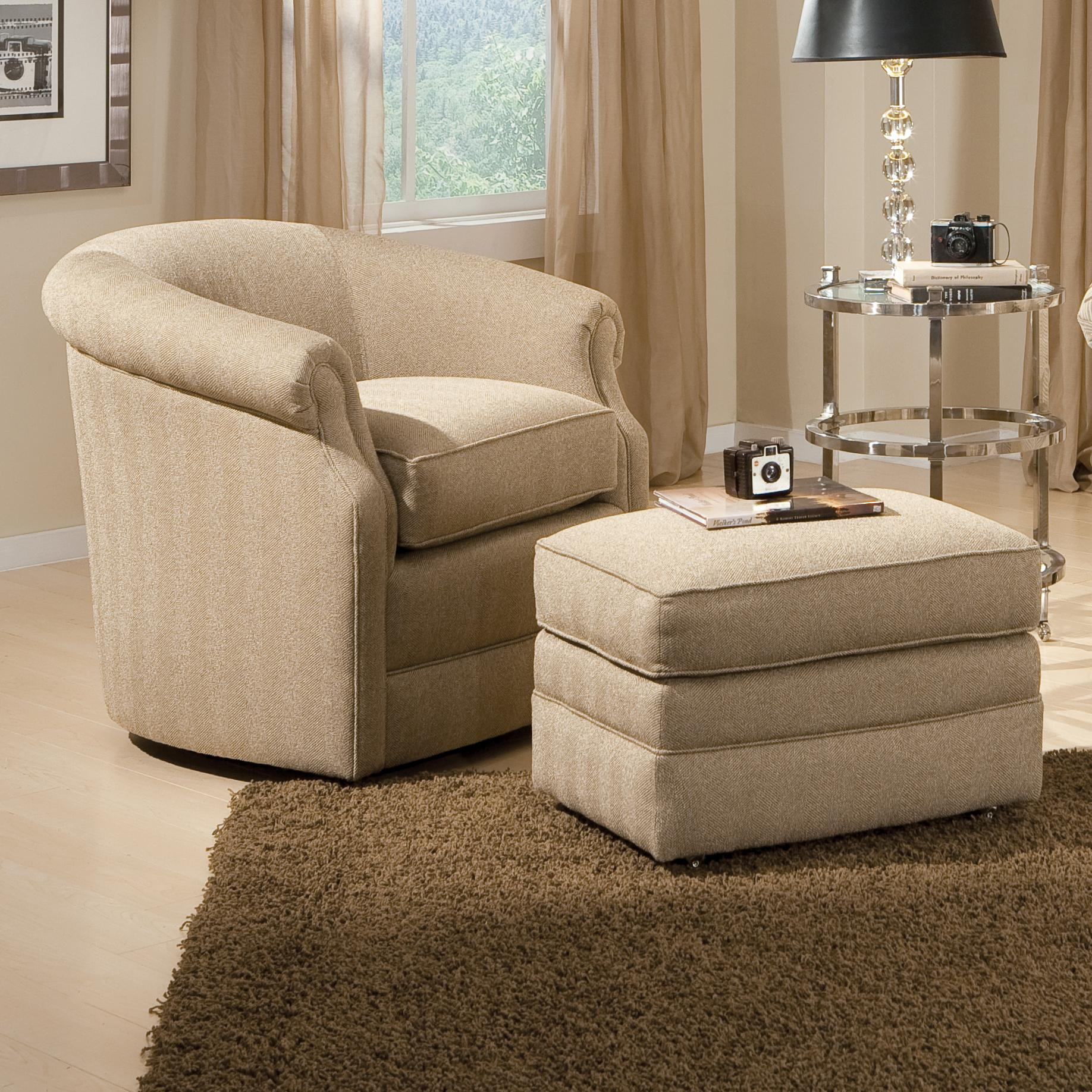Accent Chairs and Ottomans SB Barrel Swivel Chair and Ottoman by Smith Brothers at Sprintz Furniture