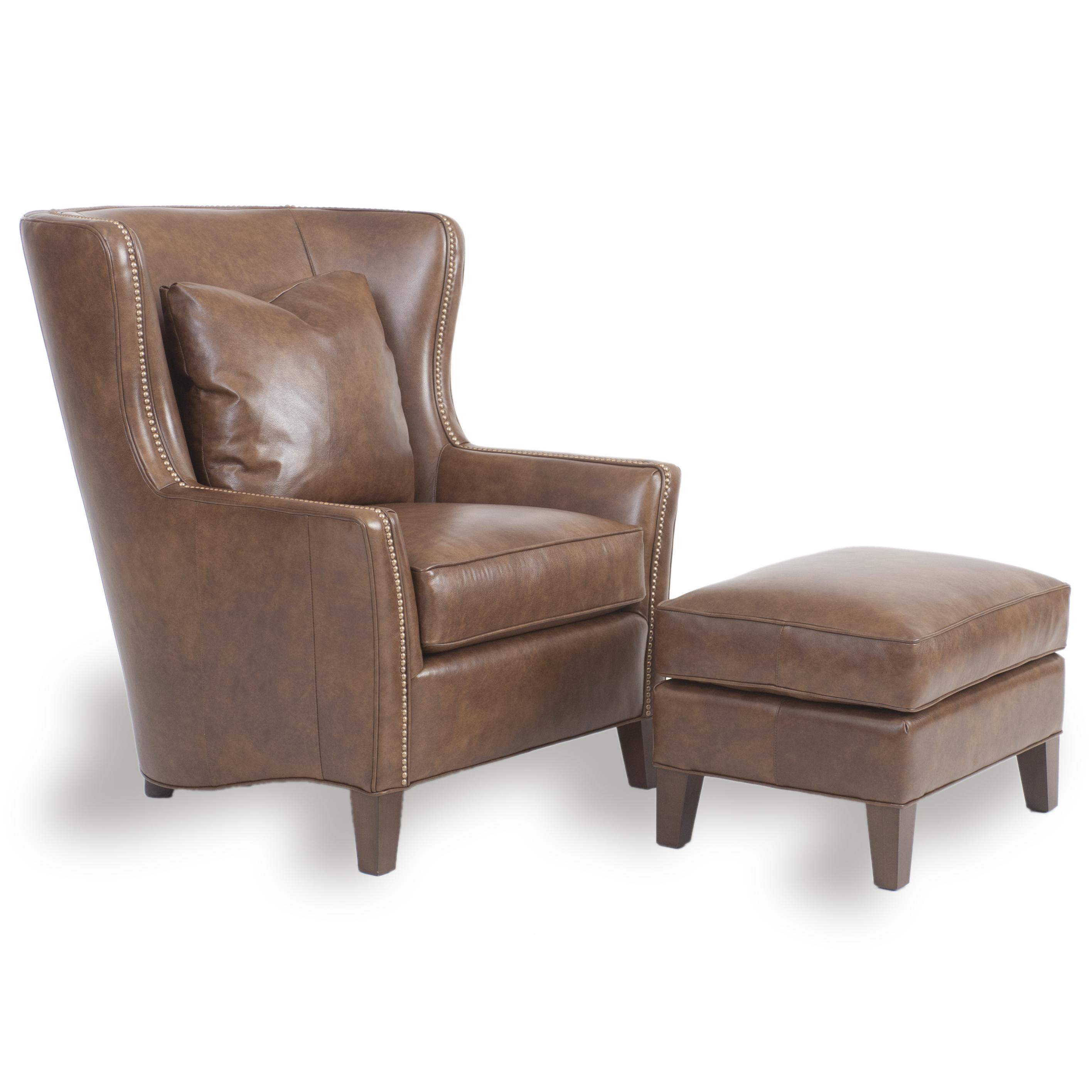Accent Chairs and Ottomans SB Wingback Chair and Ottoman by Smith Brothers at Mueller Furniture