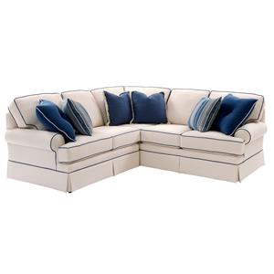 Sectional Sofa with Rolled Arms and Skirt