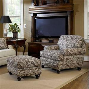 Upholstered Chair & Ottoman with Turned Legs