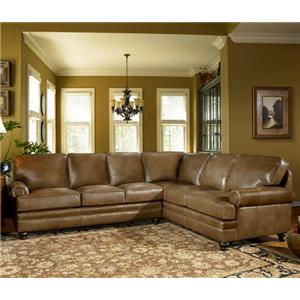 Leather Sectional with Panel Arm & Turned Legs