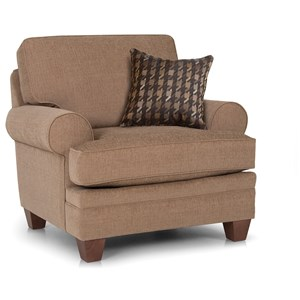 Customizable Chair with Sock Rolled Arms, Tapered Feet and Semi-Attached Back