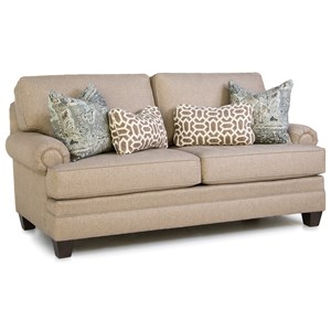 Customizable Mid-Size Sofa with Panel Rolled Arms, Tapered Feet and Loose Pillow Back