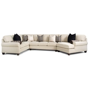 Customizable Sectional with Sock Rolled Arms, Tapered Feet and Semi-Attached Cushions