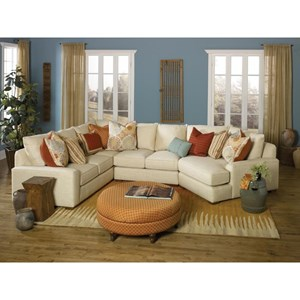 Casual Sectional Sofa with Deco Arms