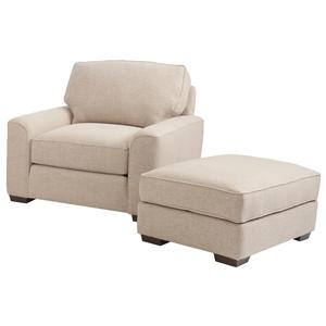 Retro Styled Chair and Ottoman Set