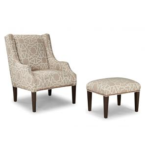 Upholstered Chair and Ottoman with Tapered Wood Legs