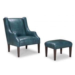 Leather Upholstered Chair and Ottoman with Tapered Wood Legs