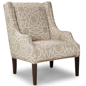 Upholstered Chair with Track Arms and Tapered Wood Legs