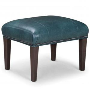 Leather Upholstered Ottoman with Graphite Nailhead Trim