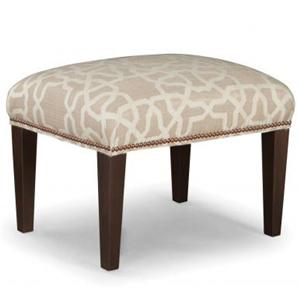 Upholstered Ottoman with Tapered Wood Legs