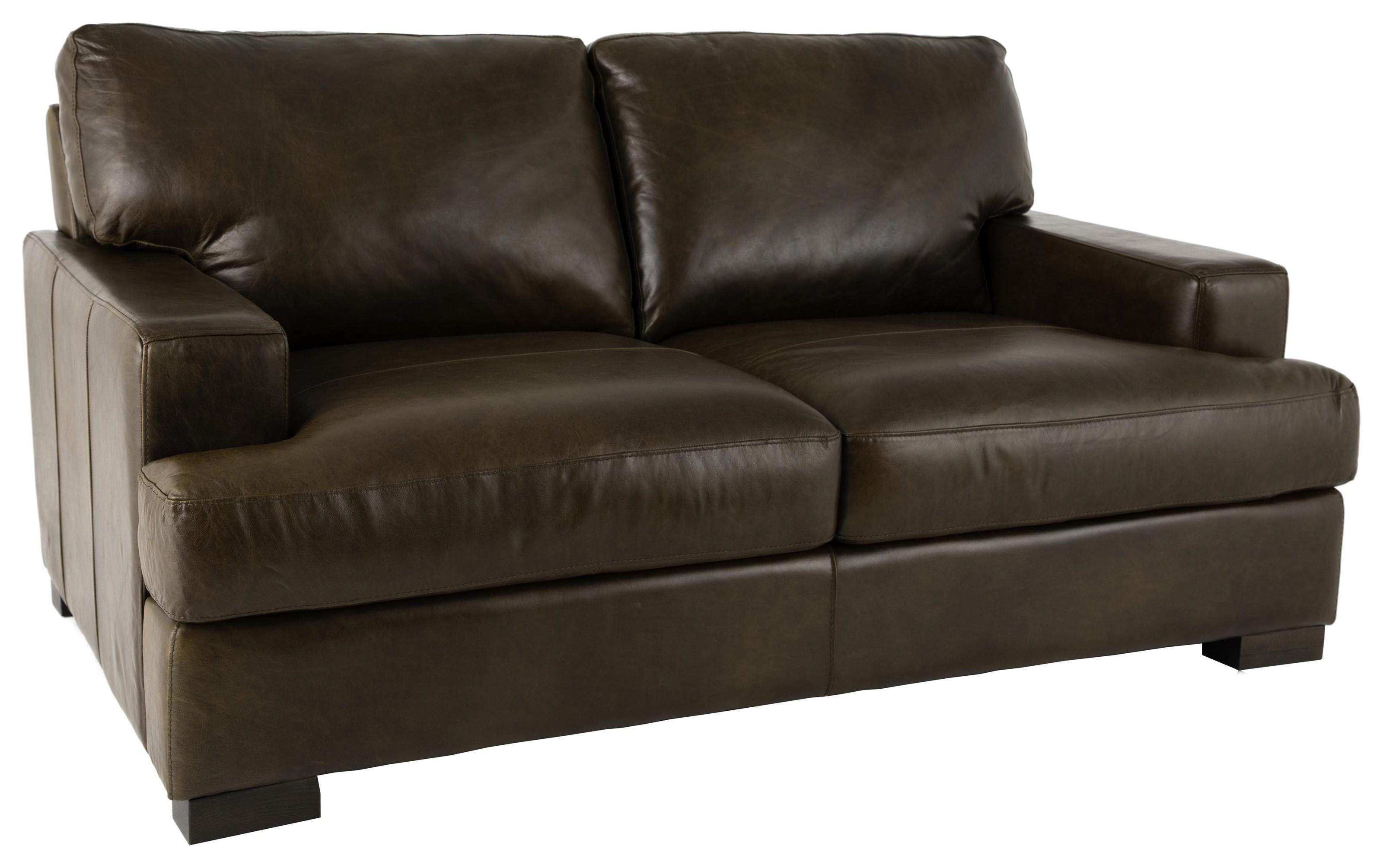 Giorgio Full Italian Leather Loveseat by Delfino at Walker's Furniture