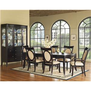 7 Piece Solid Top Dining Table & Upholstered Chair Set