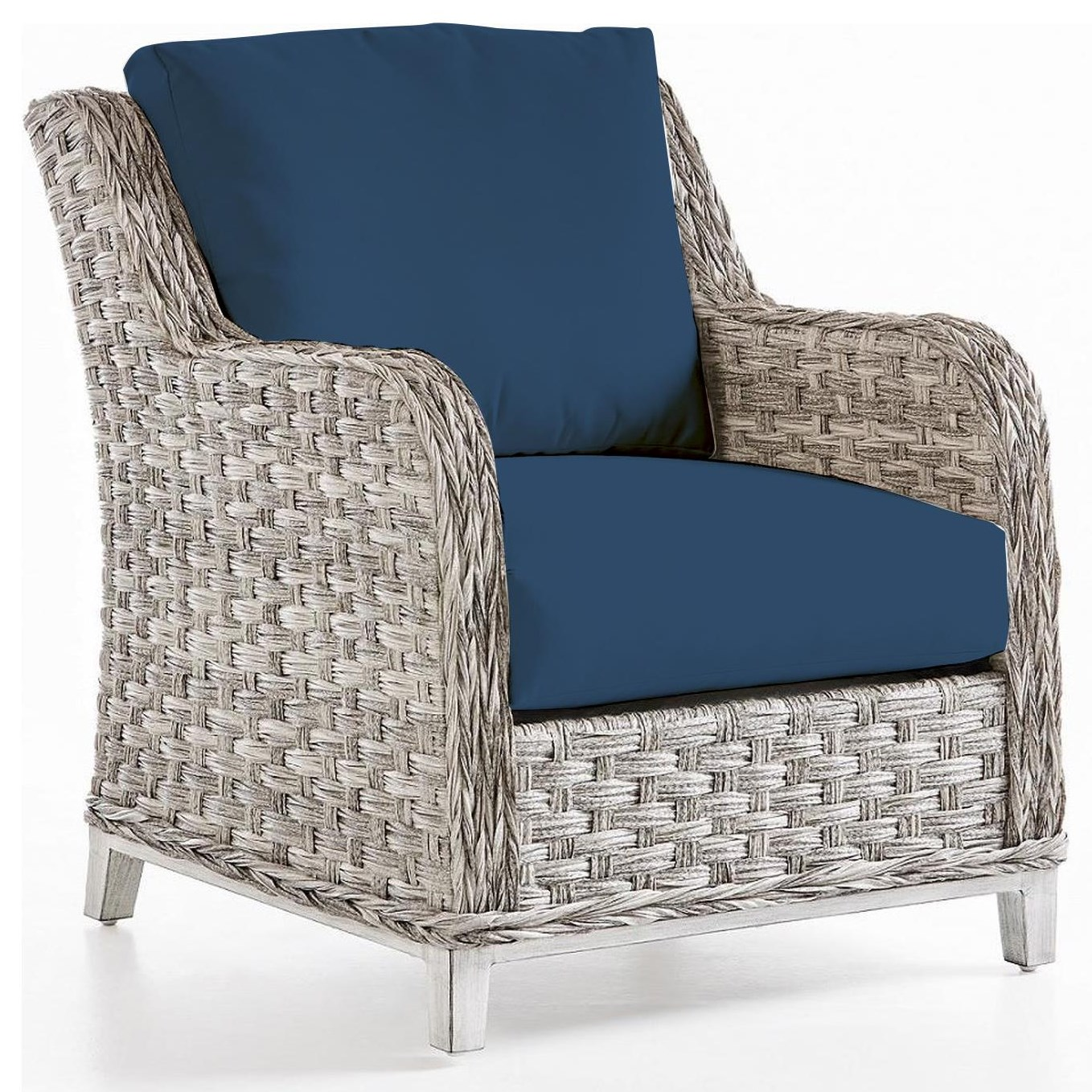 Grande Isle Chair with Luxterior Cushions by South Sea Rattan & Wicker at Johnny Janosik