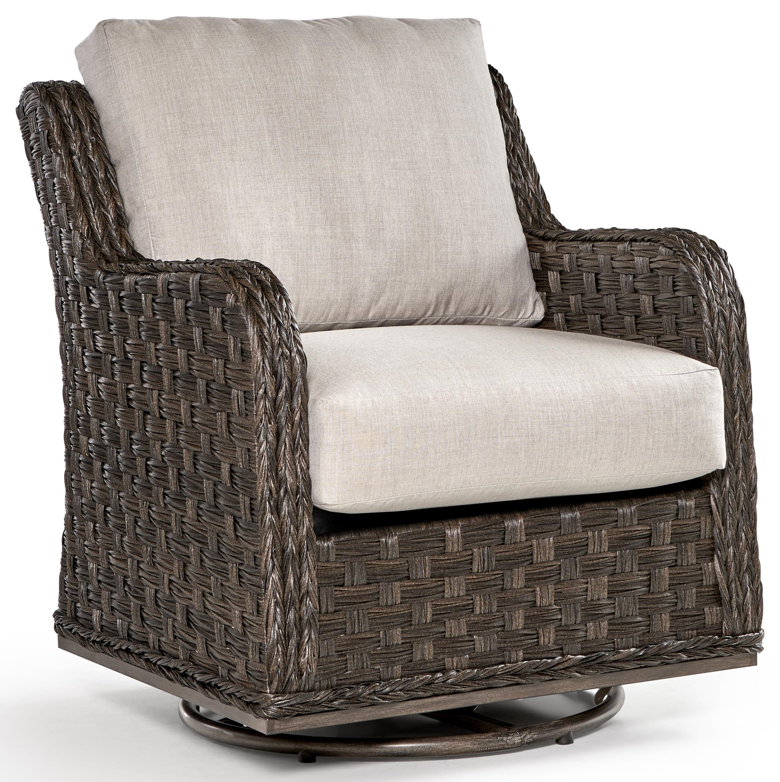 Grande Isle Swivel Glider w/Luxterior Cushions by South Sea Rattan & Wicker at Johnny Janosik