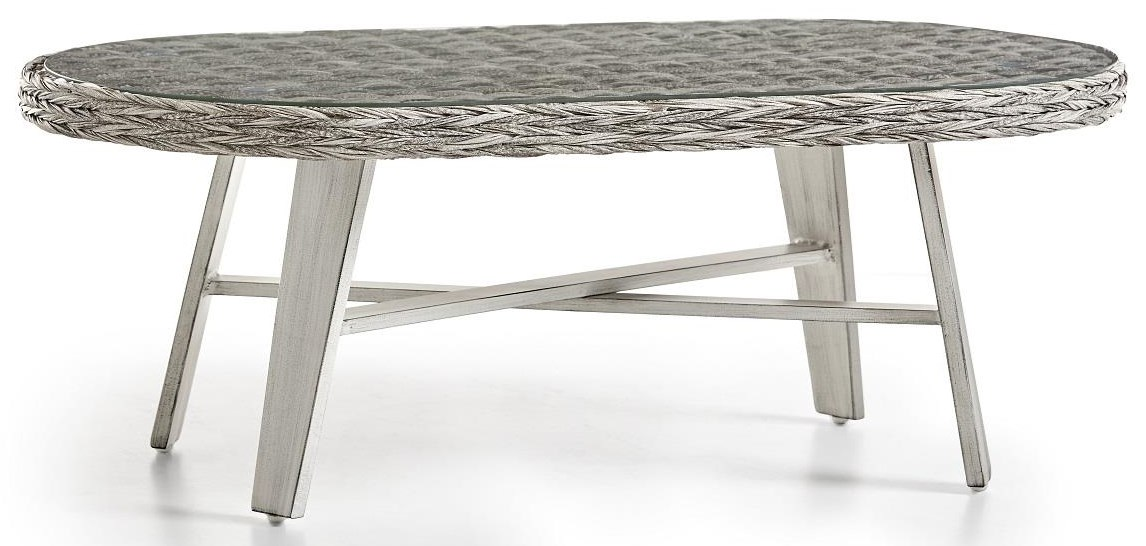 Grande Isle Oval  Coffee Table w/Glass by South Sea Rattan & Wicker at Johnny Janosik