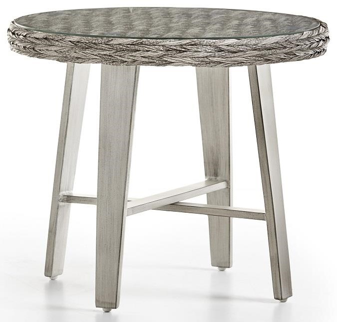Grande Isle 2019 End Table with Glass by South Sea Rattan & Wicker at Johnny Janosik