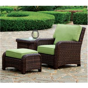 South Sea Rattan & Wicker St Tropez Chair and Ottoman