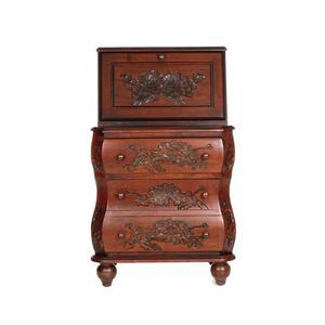 Southern Enterprises Desks and Chairs Walnut Carved Drop Front File Desk