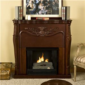 Southern Enterprises Fireplaces  Raphael Mahogany Fireplace with Tealight Log