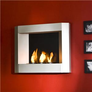 Southern Enterprises Fireplaces  Silver Wall Mount Fireplace with Gel Fuel