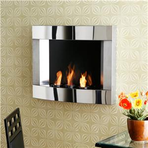Southern Enterprises Fireplaces  Stainless Steel Wall Fireplace with Gel Fuel