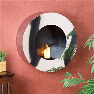 Southern Enterprises Fireplaces  Round Wall Mount Fireplace Sconce