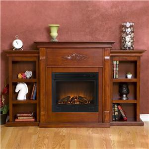 Southern Enterprises Fireplaces  Tennyson Mahogany Electric Fireplace
