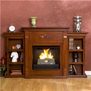 Southern Enterprises Fireplaces  Tennyson Mahogany Gel Fuel Fireplace