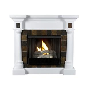 Southern Enterprises Fireplaces  Convertible White Electric Fireplace