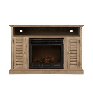 Southern Enterprises Fireplaces  Antebellum Media Weathered Oak Fireplace