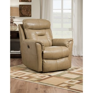 Transitional Swivel Reclining Chair with Pillow Arms