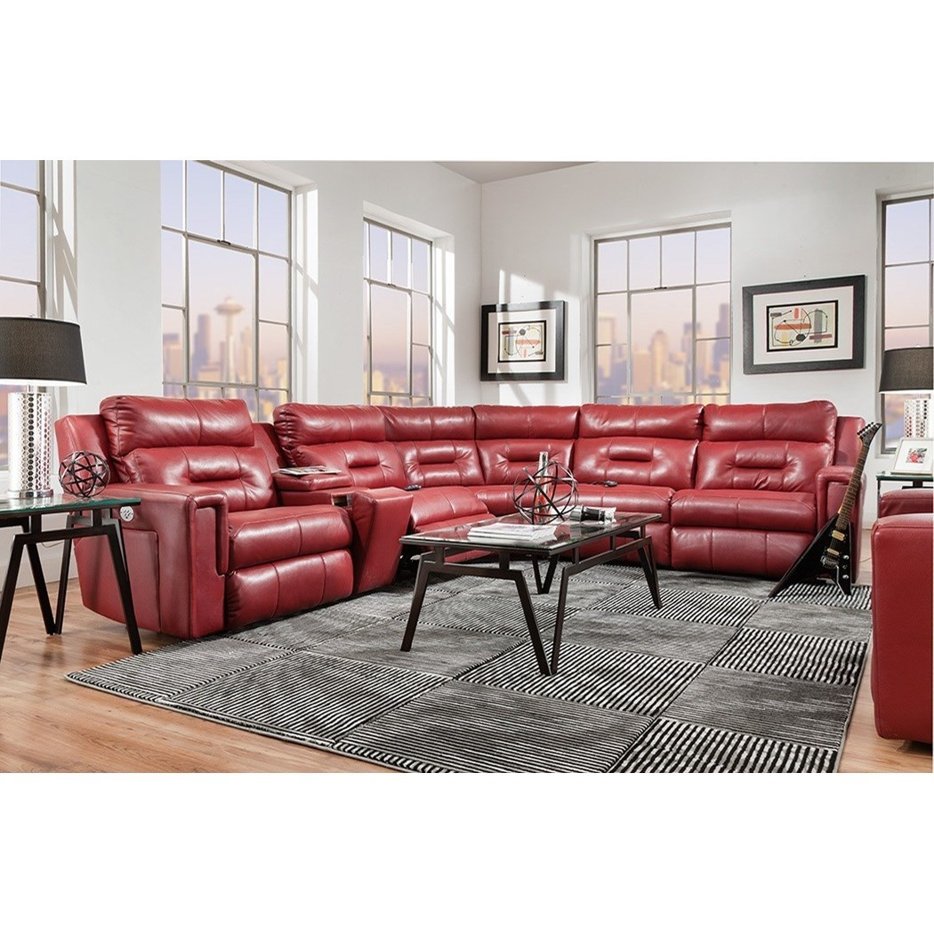 Excel Pwr Headrest Reclining Sectional w/ 5 Seats by Southern Motion at Suburban Furniture