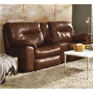 Double Reclining Leather Console Sofa