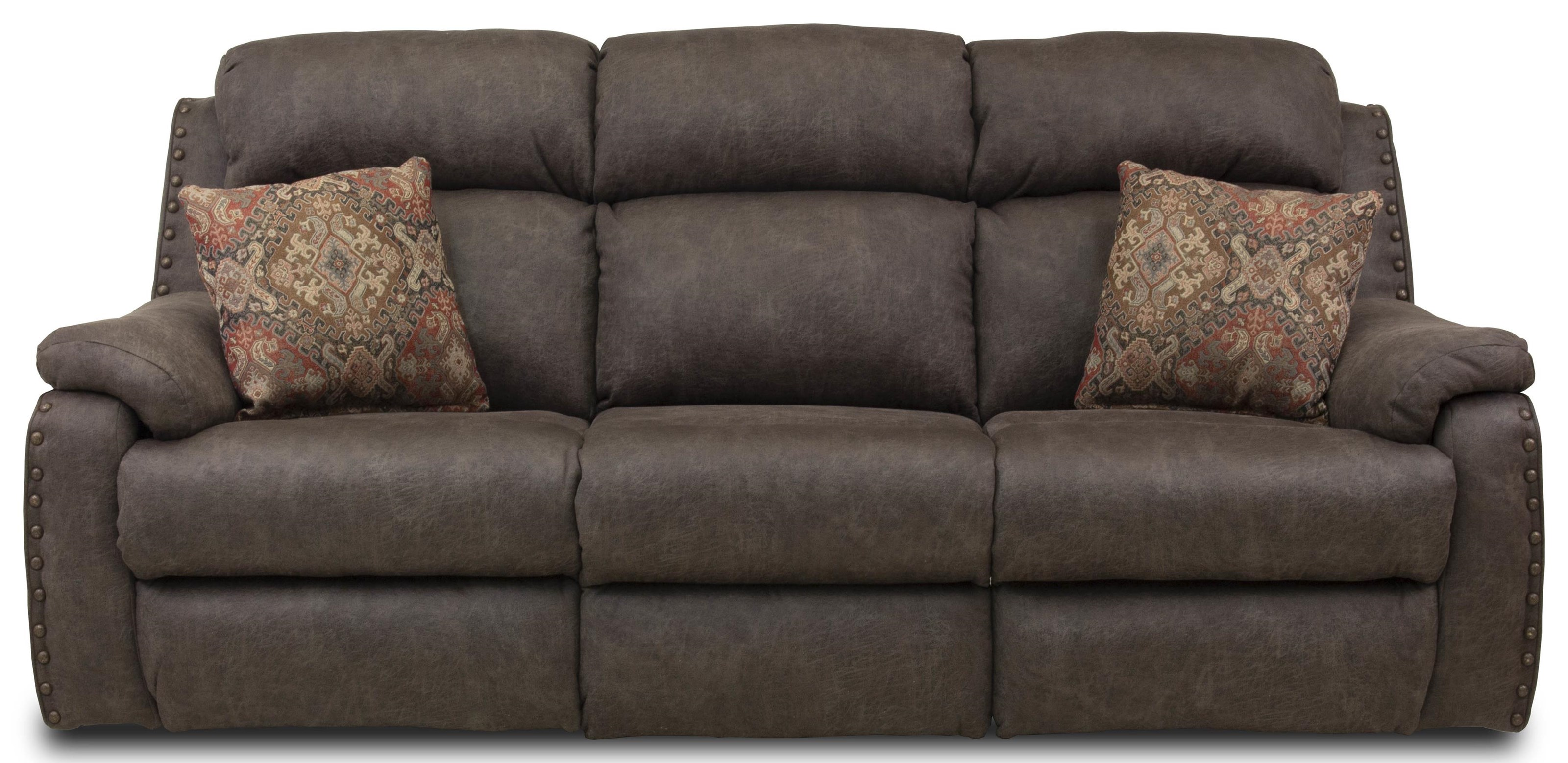 Double Reclining Sofa with Pillows and Power Headrests