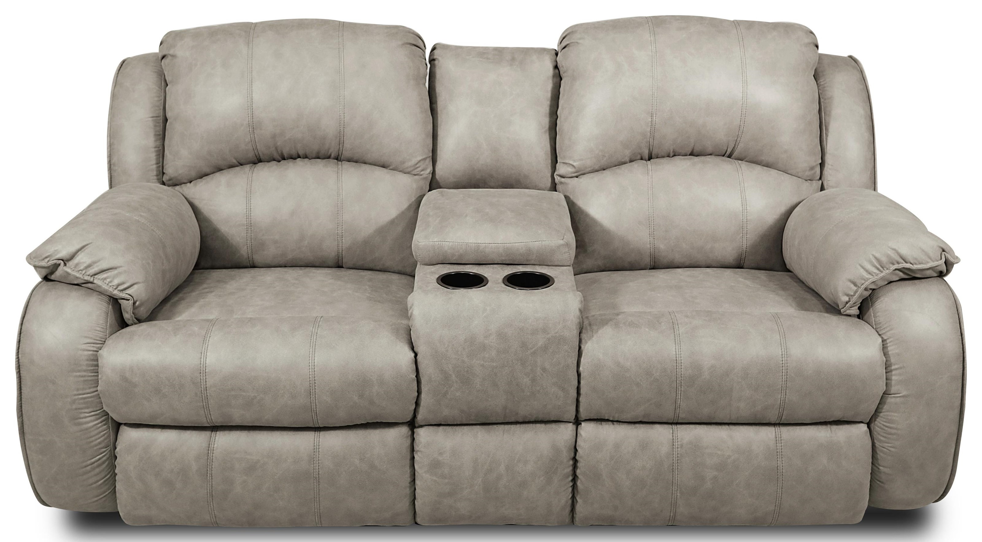 Comfy and Convenient Console Sofa with Reclining Chairs and Cup-Holders