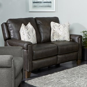 Transitional Power Headrest Loveseat with Pillows and USB Port