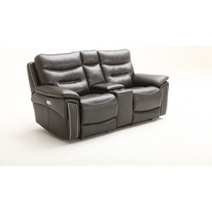 Transitional Power Headrest Console Loveseat with USB Port