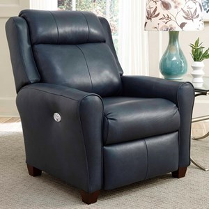 Transitional Bustle Back Power Recliner with Power Tilt Headrest
