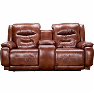 Casual Double Reclining Leather Console Loveseat