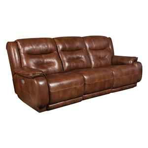 Casual Double Reclining Sofa with Power Headrest