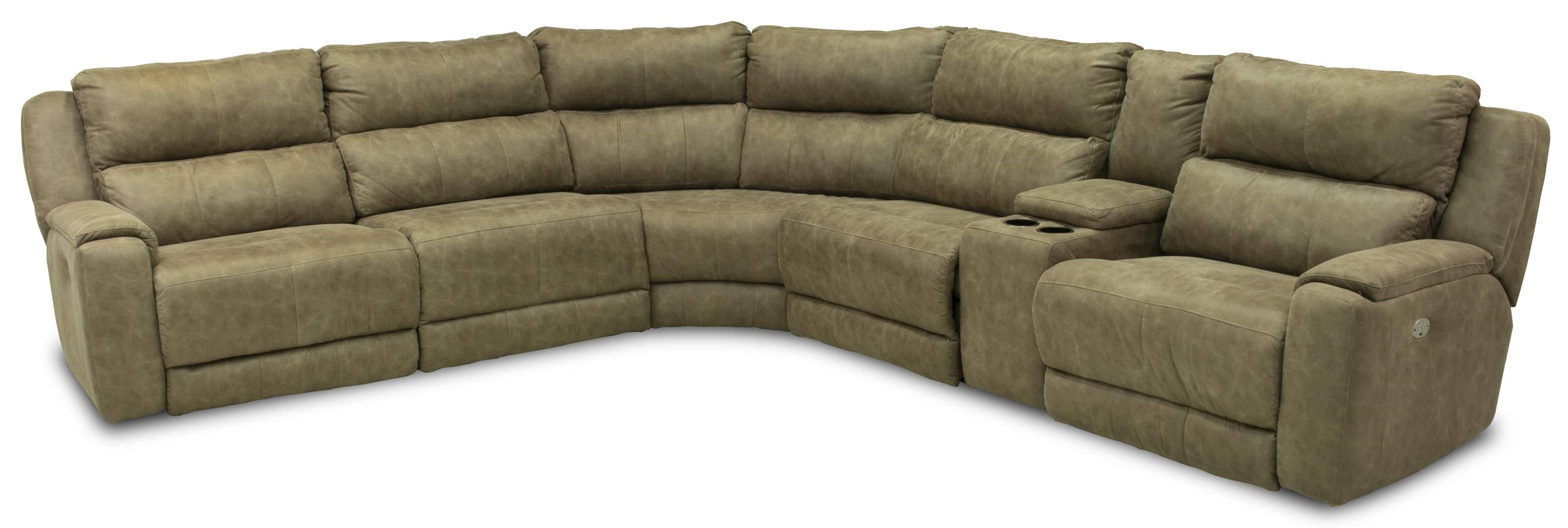Sectional Sofa with 5 Seats and Cup Holders and Power Headrests